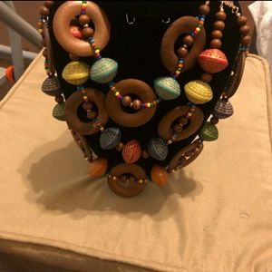 Stylish Wooden Multicolored Bead Necklace